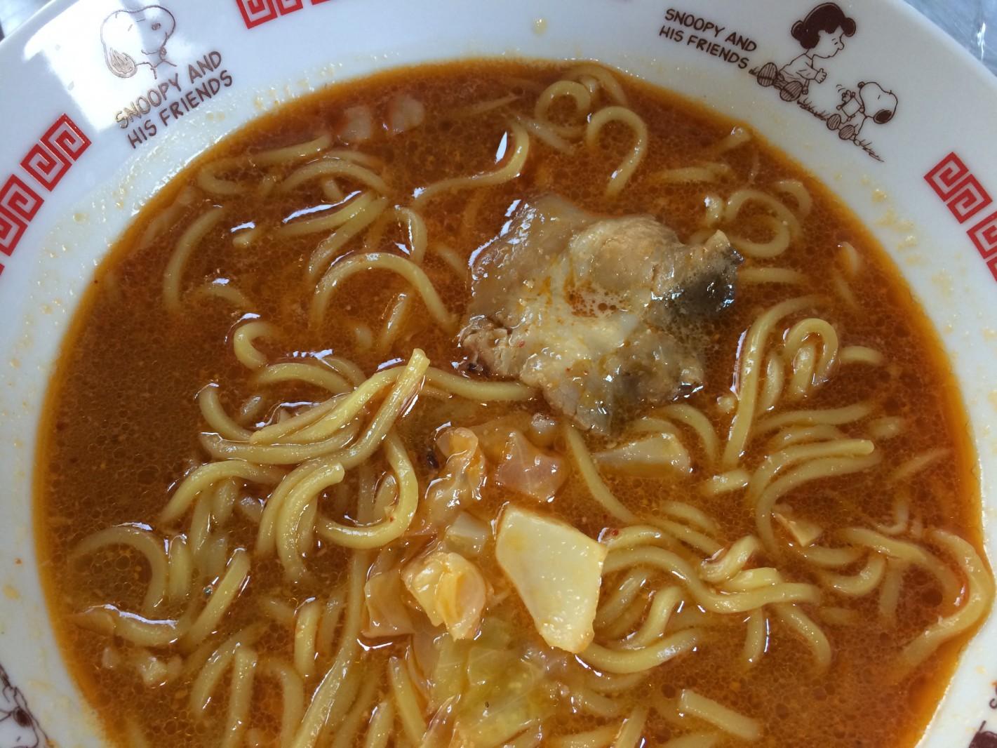 濃厚スープの味噌ラーメン「北魁」。お水がいらない、ということは誰が解凍しても同じ美味しさということ