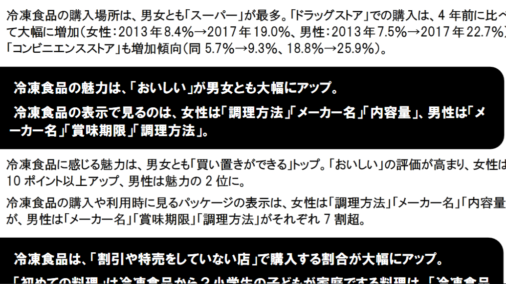 冷凍食品を利用する頻度アップ、さらに「おいしい」という評価も高くなりました(日本冷凍食品協会調査)