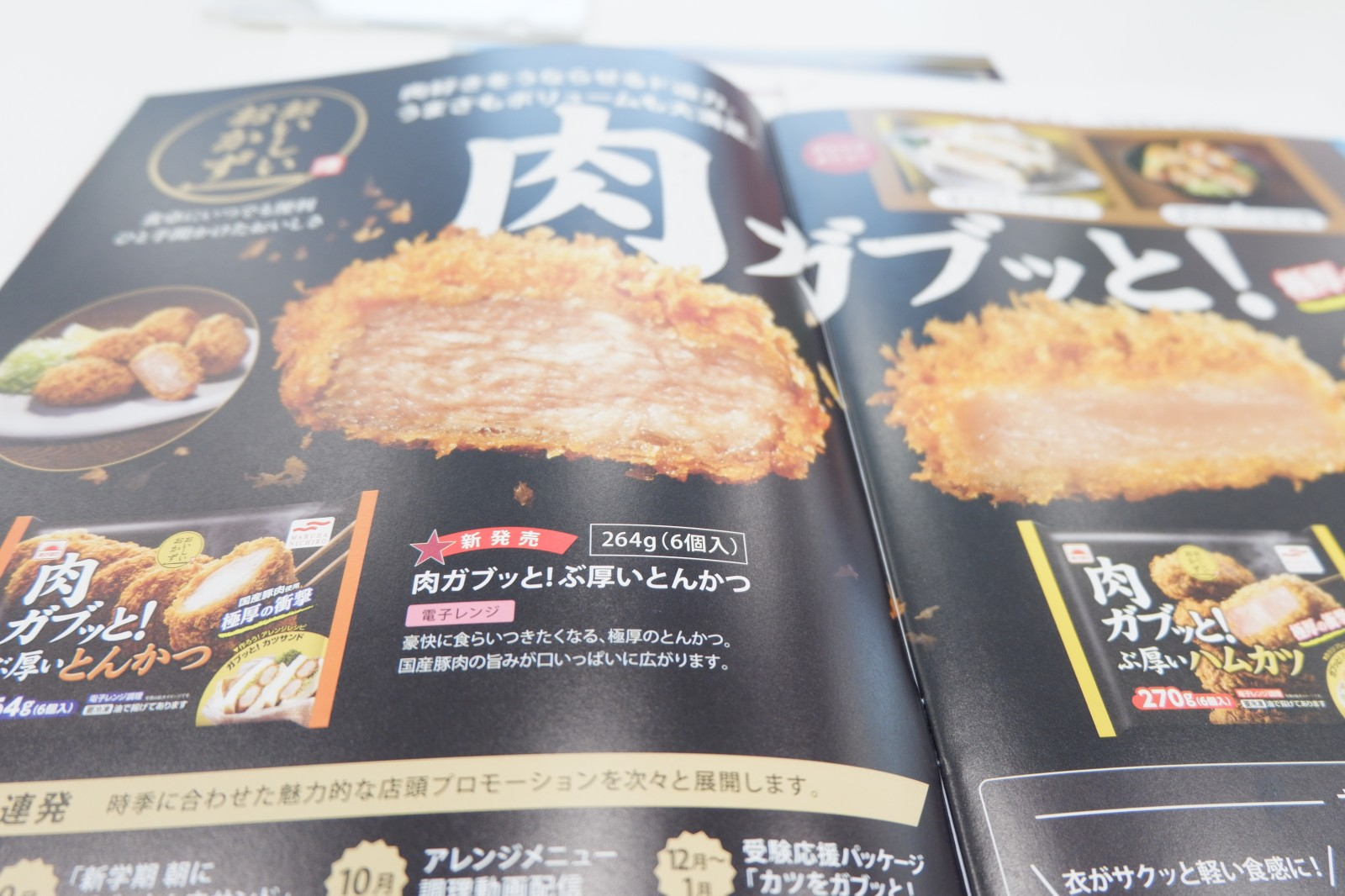 「肉ガブッと!ぶ厚いとんかつ」という名前です。秋の新商品発表会、マルハニチロからスタート