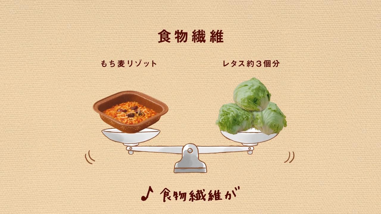 食物繊維たっぷり!!を「アルプス一万尺」の替え歌で楽しく紹介するTVCM(日清フーズ もち麦リゾット)