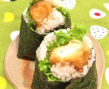 「いかの天ぷら」でボリューム華やかべんとう♫ 天むすも簡単美味し~